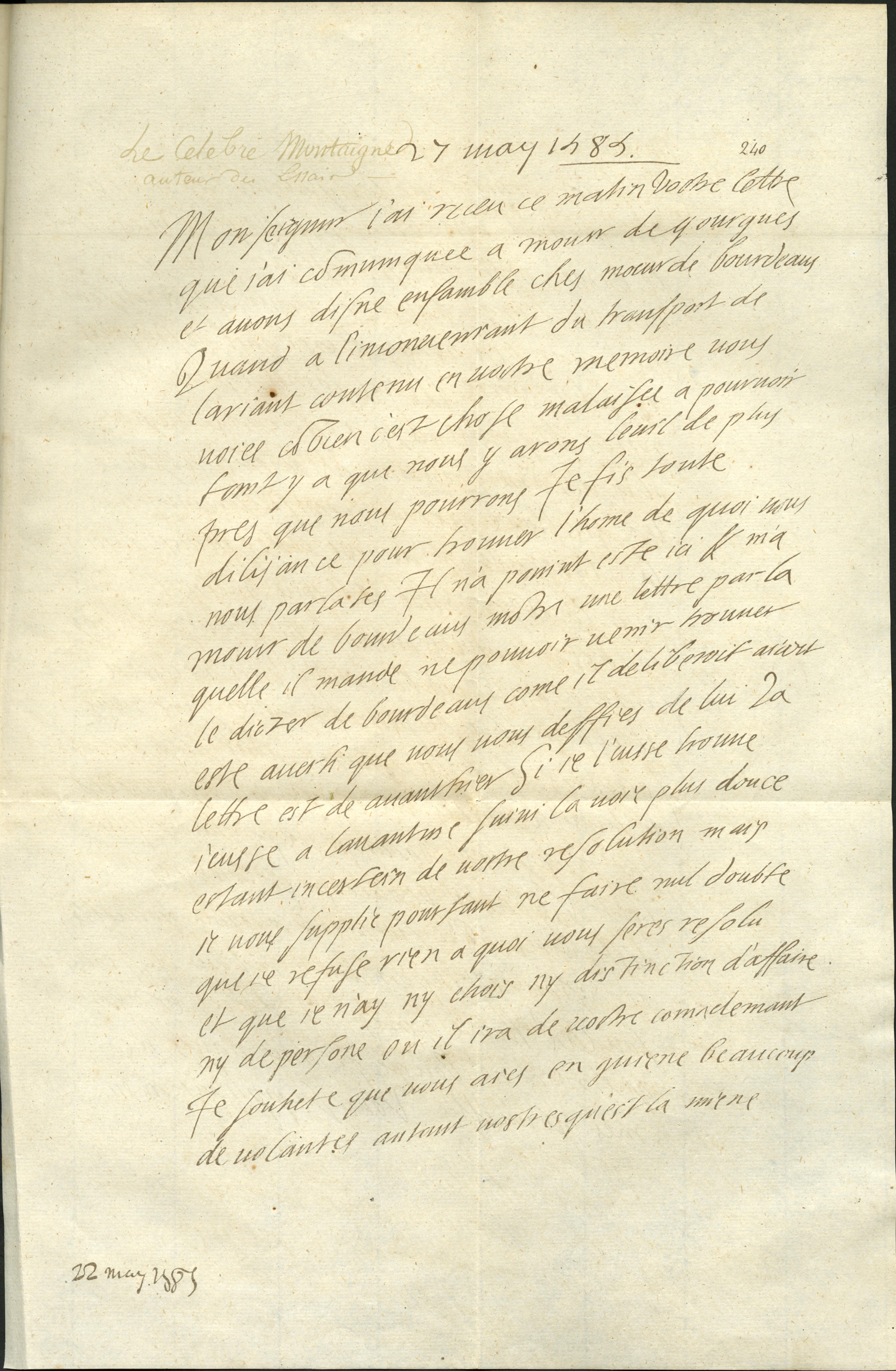 [Lettre au maréchal de Matignon]