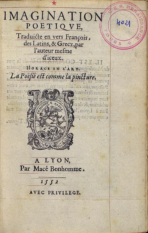 Imagination poetique, Lyon, 1552