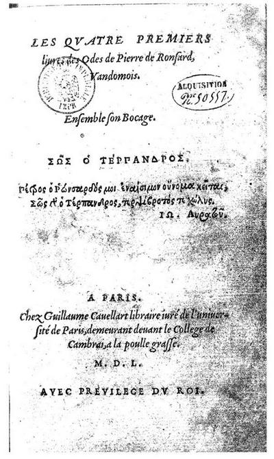 Les Quatre premiers livres des Odes
