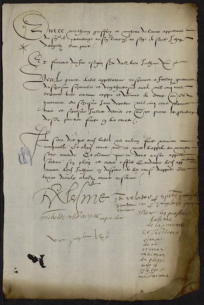 [Arrêt du Parlement de Bordeaux, 7 septembre 1565]